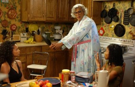 Tyler Perry Madea (, center) with Lisa (Rochelle Aytes, left)