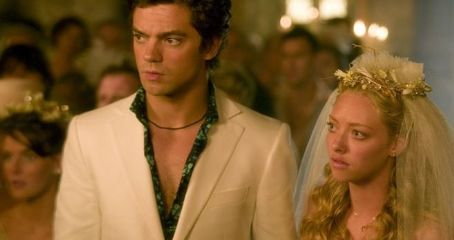 Dominic Cooper  as Sky and Amanda Seyfried as Sophie in Phyllida Lloyd comedy romance 'Mamma Mia!.'