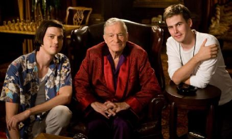 Zach Cregger Writer/Director Trevor Moore and Writer/Director  with Hugh Hefner. Photo Credit: Mark Fellman