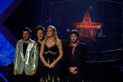 Adam Busch (L to R) Show-tune singing, would-be terrorist Omer (Sam Golzari); reality show 'American Dreamz' host Martin Tweed (Hugh Grant); conniving steel magnolia Sally (Mandy Moore); and Orthodox rapper Sholem ()