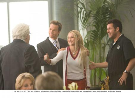 Guy Pearce (L-R) Richard Griffiths, , Teresa Palmer and Adam Sandler in Bedtime Stories. Photo: Tracy Bennett © 2008 Disney Enterprises, Inc. All rights reserved.