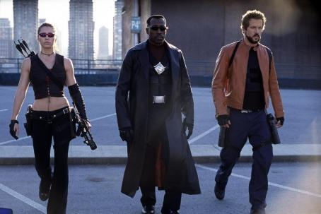 Wesley Snipes Abigail (Jessica Biel, left), Blade (, center) and Hannibal (Ryan Reynolds, right) walk into battle with the Vampires in New Line Cinema's third installment of the BLADE series, BLADE TRINITY.