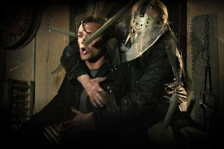"Jason Voorhees Jason (DEREK MEARS, right) crashes through a window and grabs Clay (JARED PADALECKI, left) in New Line Cinema's and Paramount Pictures' horror film ""Friday the 13th,"" a Warner Bros. Pictures release. Photo by John P. Johnson"