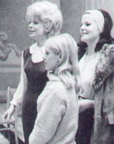 Eileen Brennan  (back) records the cast album with Channing