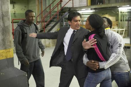 "Yaya Alafia (left to right) Rob Brown as ""Rock"", Antonio Banderas as ""Pierre"", Yaya DaCosta as ""Larette""and Elijah Kelley as ""Danjou"" in New Line Cinema's family drama TAKE THE LEAD."