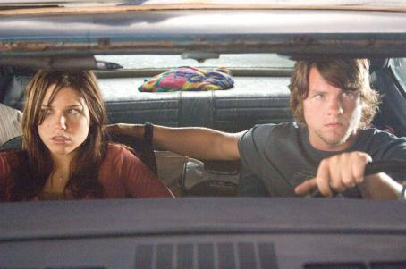 Zachary Knighton Sophia Bush (left) and  (right) star in Rogue Pictures terrifying new thriller The Hitcher