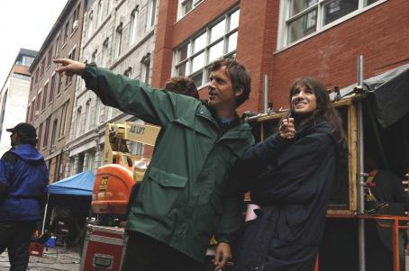 Charlotte Gainsbourg  as Claire (right) with director Todd Haynes on the set of I'M NOT THERE. Photo courtesy of Jonathan Wenk/TWC 2007