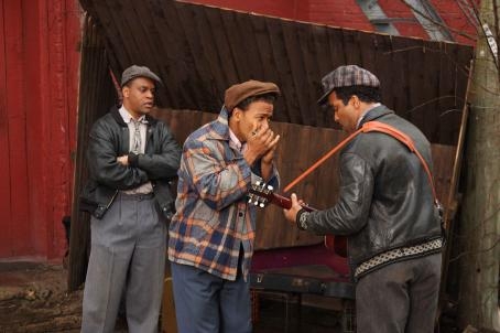 (L to R) Jimmy Rogers as 'Kevin Mambo', Columbus Short as 'Little Walter', Jeffrey Wright as 'Muddy Waters' in Sony BMG Film, Parkwood Pictures and Tristar Pictures' drama CADILLAC RECORDS. Photo credit: Eric Liebowitz. © 2008