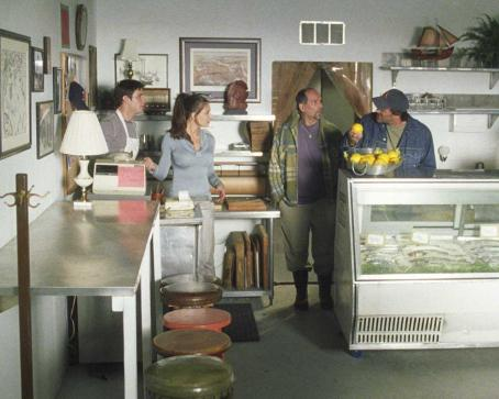 John Kapelos All in Shop: Jay Jablonski as Jake, Cerina Vincent as Marisa,  as Steve and John Enos III as Gianluca in EVERYBODY WANTS TO BE ITALIAN, directed by Jason Todd Ipson. Courtesy of Roadside Attractions.