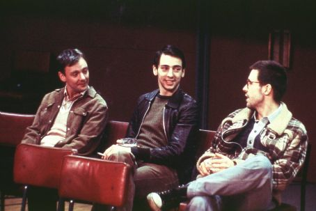 24 Hour Party People John Simm as Bernard Sumner, Ralf Little as Peter Hook and Paddy Considine as Rob Gretton in MGM's  - 2002