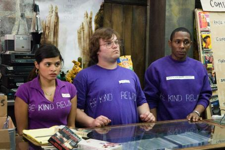 "Mos Def (left to right) Melonie Diaz stars as ""Alma"", Jack Black stars as ""Jerry"" and  stars as ""Mike"" in New Line Cinema's upcoming release of Michel Gondry's BE KIND REWIND."