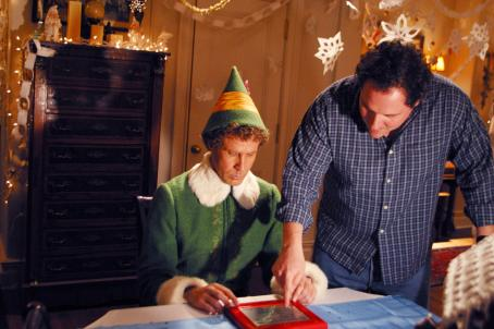 Jon Favreau Will Ferrell (left) and Director  (right) on the set of New Line Cinema's upcoming family comedy, Elf.