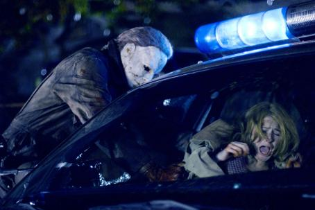 Tyler Mane  (Michael Myers) and Scout Taylor-Compton (Laurie Strode) star in Rob Zombie's Halloween. Photo by: Marsha Blackburn LaMarca/Dimension Films, 2007
