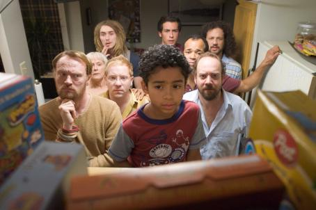 Noah Gray-Cabey (Left to right) JARED HARRIS as Goatee Smoker, MARY BETH HURT as Mrs. Bell, GRANT MONOHON as Emaciated Smoker, ETHAN COHN as Glasses Smoker, NOAH GRAY-CABEY as Joey Dury, JOHN BOYD as One-Eyebrow Smoker, JEFFREY WRIGHT as Mr. Dury, PAUL GIAMATTI as Clevel