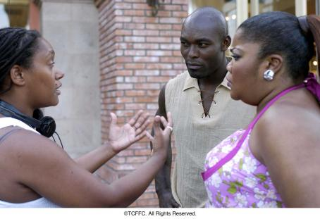 Mo'Nique Writer/director Nnegest Likke with Jimmy Jean-Louis and Monique Imes on the set of Fox Searchlight's Phat Girlz - 2006