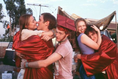 Slackers The happy graduates Left-to-Right Angela (James King,) Dave (Devon Sawa,) Jeff (Michael C. Maronna,) Reanna (Laura Prepon) and Sam (Jason Segel) in Screen Gems'  - 2002