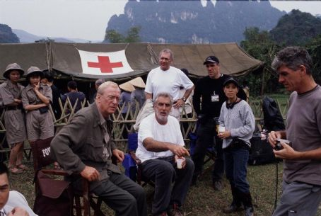 The Quiet American Michael Caine, Phillip Noyce, Sydney Pollack and William Horberg on the set of Miramax's  - 2002