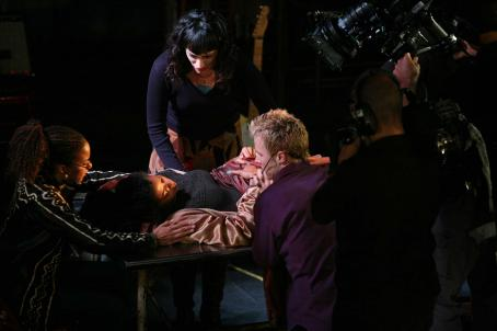 Renee Goldsberry RENT: FILMED LIVE ON BROADWAY Pictured(l to r): Tracie Thoms as Joanne, Renée Elise Goldsberry as Mimi, Eden Espinosa as Maureen, Will Chase as Roger. Photo: Casey Stouffer. ©2008 Columbia Pictures Industries, Inc.
