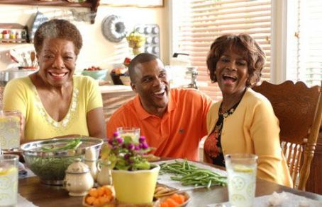 Tyler Perry Dr. Maya Angelou, , and Ms. Cicely Tyson on the set