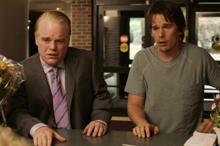 Philip Seymour Hoffman  as Andy and Ethan Hawke as Hank in drama thriller Before the Devil Knows You're Dead.