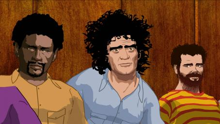 Chicago 10 Animated shots of the defendants of the 1968 Conspiracy Trial Bobby Seale (voice by Jeffrey Wright), Abbie Hoffman (voice by Abbie Hoffman) and Jerry Rubin (voice by Jerry Rubin) in CHICAGO 10, a film by Brett Morgen. Courtesy of Roadside Attractions
