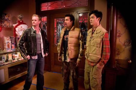 "Neil Patrick Harris  (left) with Kal Penn (center) as ""Kumar"" and John Cho (right) as ""Harold"" in New Line Cinema's upcoming release HAROLD AND KUMAR ESCAPE FROM GUANTANAMO BAY. Photo Credit: Jaimie Trueblood/New Line Cinema"