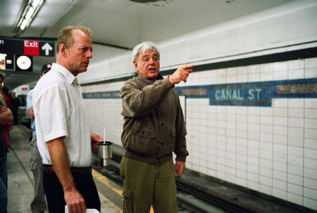 "Richard Donner Bruce Willis and director  on the set of Alcon Entertainment and Millennium Films' action thriller ""16 Blocks,"" also starring Mos Def and David Morse and distributed by Warner Bros. Pictures. Photo by Ava Gerlitz"