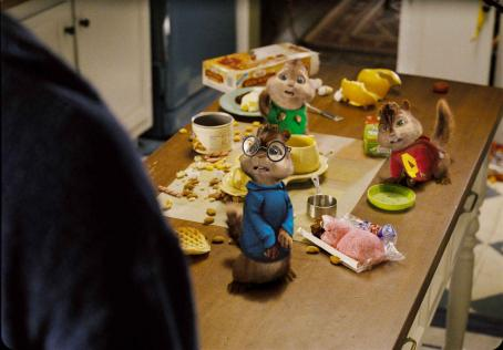 Alvin and the Chipmunks The always-hungry Chipmunks lay waste to Dave Seville's kitchen. Photo credit: Rhythm & Hues.  and Characters TM & © 2007 Bagdasarian Productions, LLC. All rights reserved.