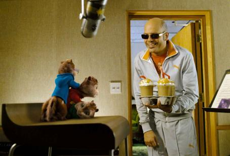 Alvin and the Chipmunks Sleazy music executive Ian (David Cross) tries to jump-start the flagging energies of his newest artists –  – with some hyper-caffeinated refreshments. Photo credit: Rhythm & Hues.  and Characters