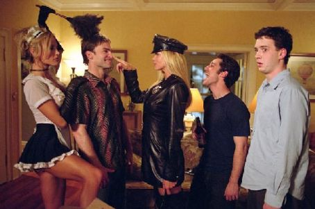 Eddie Kaye Thomas Brandi 'the Maid' (Amanda Swisten), Stifler (Seann William Scott), 'Officer' Krystal (Nikki Ziering), Kevin (Thomas Ian Nicholas) and Finch () start the bachelor party