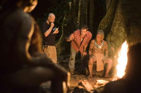 Apocalypto Behind The Scene: Mel Gibson (center), Espiridian Acosta Canche in  press kit images. Photo credit: Andrew Cooper SMPSP © Icon Distribution, Inc. All Rights Reserved