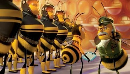 Rip Torn Barry B. Benson (JERRY SEINFELD, center) receives instruction from Lou Lo Duca (RIP TORN, right), the commander of the Pollen Jocks, the select group of bees allowed to leave the hive to gather nectar and pollinate flowers, in DreamWorks' BEE MOVIE,