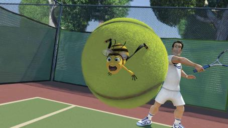 Patrick Warburton (Left to right) Finding the sport of tennis not much to his liking, Barry B. Benson (JERRY SEINFELD) faces off with Vanessa's tennis partner, Ken (PATRICK WARBURTON), in DreamWorks' BEE MOVIE, to be released by Paramount Pictures in November 2