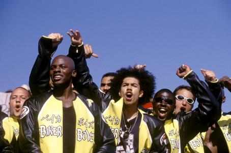 Rick Gonzalez Kid (Derek Luke, front left) and Primo (, front right) and the rest of the Biker Boyz cheer on another racer