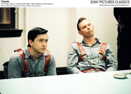 Perry Smith Left: Clifton Collins Jr. as ; Right: Mark Pellegrino as Dick Hickock; Photo by: Attila Dory, courtesy of Sony Pictures Classics, all rights reserved.