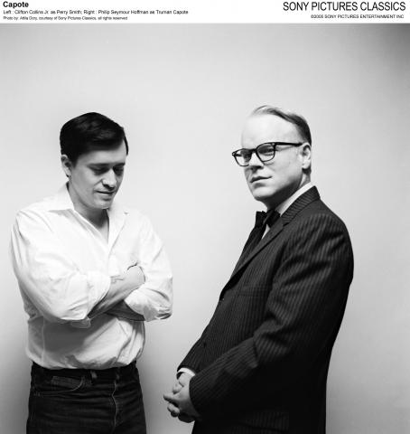 Perry Smith Left: Clifton Collins Jr. as ; Right: Philip Seymour Hoffman as Truman Capote; Photo by: Attila Dory, courtesy of Sony Pictures Classics, all rights reserved.