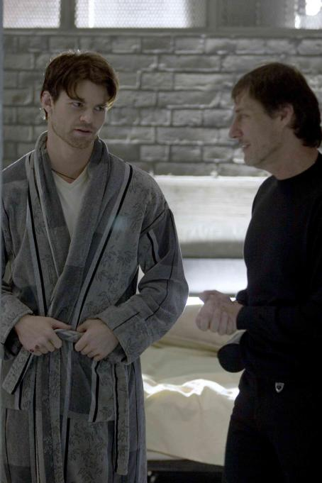 Captivity Daniel Gillies and Director Roland Joffe on the set After Dark Films'  - 2007