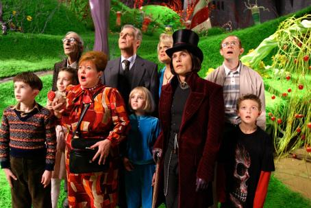 "Julia Winter - L-r: FREDDIE HIGHMORE, JULIA WINTER, DAVID KELLY, FRANZISKA TROEGNER, JAMES FOX, ANNASOPHIA ROBB, MISSI PYLE, JOHNNY DEPP, ADAM GODLEY and JORDAN FRY in Warner Bros. Pictures' fantasy adventure ""Charlie and the Chocolate Factory."" Photo"