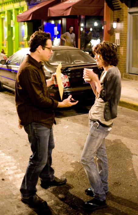 "J.J. Abrams Producer  (left) and actress Lizzy Caplan (right) on the set of ""Cloverfield."" Photo Credit: Sam Emerson. © 2008 by Paramount Pictures. All Rights Reserved."