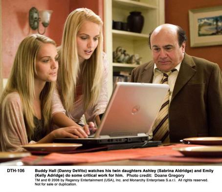 Sabrina Aldridge Buddy Hall (Danny DeVito) watches his twin daughters Ashley () and Emily (Kelly Adridge) do some critical work for him. Photo credit: Doane Gregory