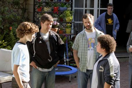 "Judd Apatow (Left to right) Nate Hartley, director Steven Brill, producer  and Troy Gentile on the set of ""Drillbit Taylor."" Photo Credit: Suzanne Hanover. © 2008 by PARAMOUNT PICTURES. All Rights Reserved."