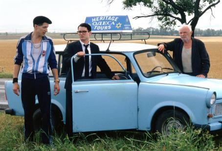 Eugene Hutz  is Alex, Elijah Wood is Jonathan and Boris Leskin is Grandfather in director Liev Schreiber's EVERYTHING IS ILLUMINATED, a Warner Independent Pictures release. Photo credit: Neil Davidson. © 2005 Warner Bros. Entertainment Inc.