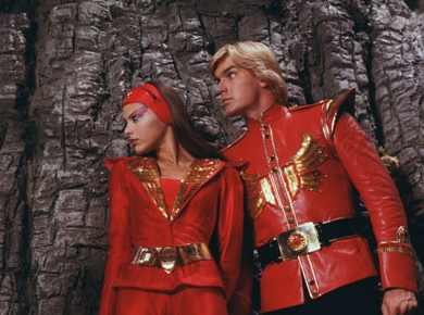 Ornella Muti as Princess Aura and Sam J. Jones as Flash Gordon in Universal Pictures' Flash Gordon.