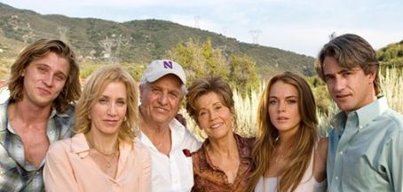Garry Marshall Garrett Hedlund, Felicity Huffman, , Jane Fonda, Lindsay Lohan and Dermot Mulroney behind the scene of Georgia Rule - 2007