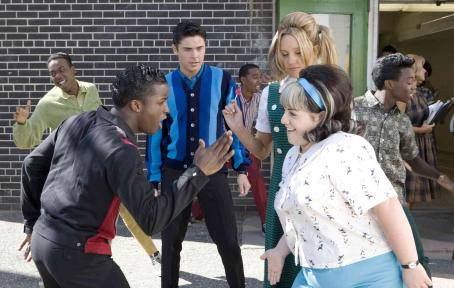 "Nikki Blonsky Elijah Kelley (left) stars as ""Seaweed J. Stubbs"", Zac Efron (center left) as ""Link Larkin"", Amanda Bynes (center right) as ""Penny Pingleton"" and  (right) stars as ""Tracy Turnblad"" in New Line C"