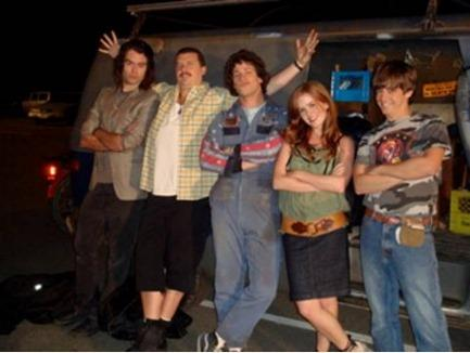 Bill Hader , Danny R. McBride, Andy Samberg, Isla Fisher and Jorma Taccone behind the scene of Hot Rod - 2007. Credits by James Dittiger. (C) 2006 Paramount Pictures. All rights reserved.