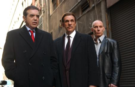 In the Mix Frank (Chazz Palminteri), Fish (Robert Davi) and Jackie (Matt Gerald) from IN THE MIX.