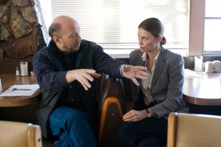 "Det. Emily Sanders Director Paul Haggis with Charlize Theron on the set of ""In the Valley of Elah,"" a Warner Independent Pictures release.  Photo Credit: Lorey Sebastian © 2007  © Elah Finance V.O.F."