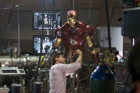 "Tony Stark In his workshop,  (Robert Downey Jr.) works on his Mark III armor in ""Iron Man."" Photo Credit: Zade Rosenthal. © 2008 MVLFFLLC.  ™ & © 2008 Marvel Entertainment. All rights reserved."
