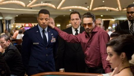 "Tony Stark Left: Terrence Howard as Jim Rhodes and (Right) Robert Downey Jr. as  in ""Iron Man."""